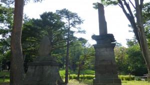 開町50年記念碑と吉田善太郎功労碑