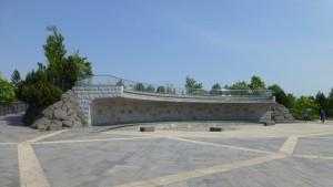 壁泉と展望台