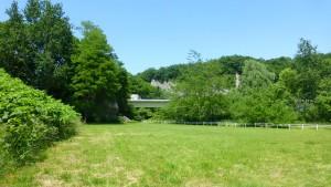 豊平川緑地から藻南橋を望む