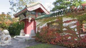 瀋芳園(中国庭園)入口とツタの紅葉