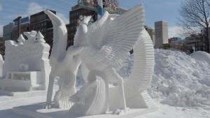 国際雪像コンクール マカオ「春、鶴の舞い」