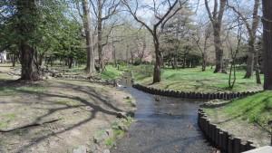 知事公館内の小川