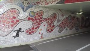 しらかばトンネルのモザイクアート