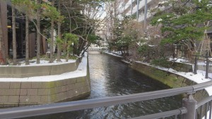 札幌第一ホテル前から鴨々川下流を望む