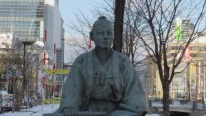 創成川を築いた大友亀太郎の像