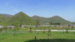 「さくらの森」から見る黄金山と八剣山