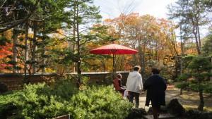 野点の赤い傘と紅葉