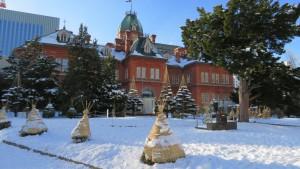 雪の中の道庁赤レンガ