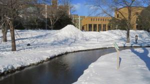 雪の中央ローンを流れるサクシュ琴似川