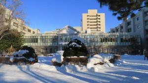 医学部校舎と北大病院を望む