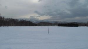 広々とした雪の芝生広場
