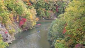 錦橋から「舞鶴の瀞」の紅葉を望む