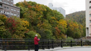 月見橋から温泉街の紅葉を望む