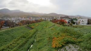 軽川桜づつみの紅葉と手稲山