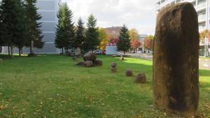 山鼻サンタウンの野外彫刻「原風景」