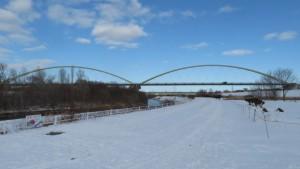 豊平川第2水管橋を望む