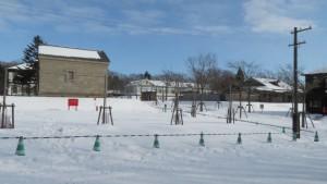 旧札幌警察署南一条巡査派出所と旧北海中学校を望む
