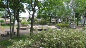 花壇広場を望む