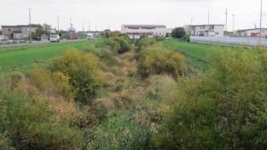 雁来5号橋から雁来新川下流と雁来排水機場を望む