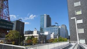 南大通横断歩道橋から創世スクエアを望む