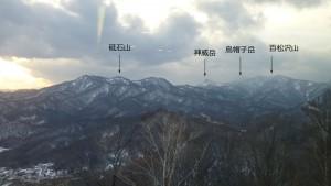 山頂から砥石山、神威岳、烏帽子岳、百松沢山を望む