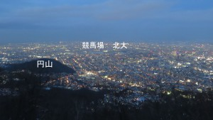 市街地の夜景(円山、競馬場、北大方面)