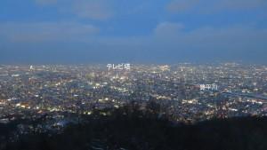 市街地の夜景(テレビ塔、豊平川方面)