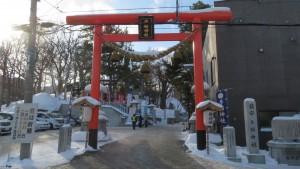 [手稲神社] 第一鳥居と社号標