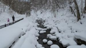 雪の中の園路と厚別川の流れ