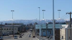 白石中央・北郷こ線橋から南西方向に見える山