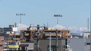 白石中央・北郷こ線橋から北東方向に見える樺戸山地の山