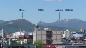 山座同定(百松沢山、烏帽子岳、神威岳、藻岩山)【白石高架橋】